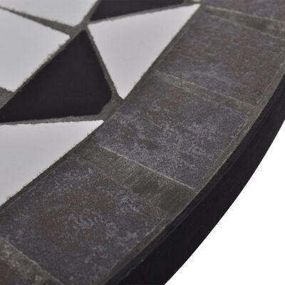 vidaXL Mesa de bistro terraza mosaico negro y blanco 60 cm