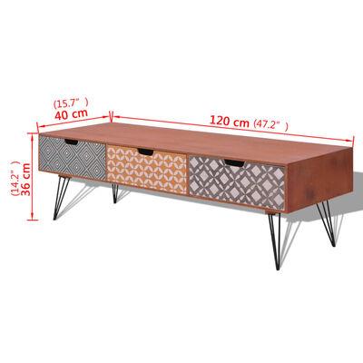 vidaXL Mueble para la televisión con 3 cajones 120x40x36 cm marrón