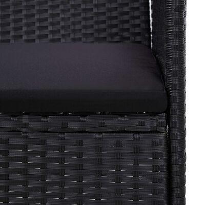 vidaXL Banco de jardín ratán sintético negro 103 cm