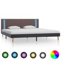 vidaXL Estructura cama con LED tela gris taupe y gris oscuro 180x200cm