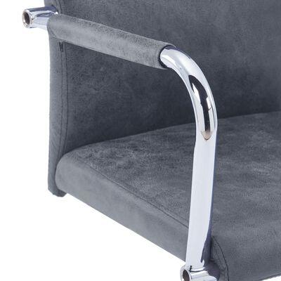 vidaXL Sillas voladizas de comedor 4 uds piel de ante sintético gris
