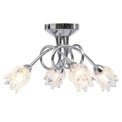 vidaXL Lámpara de techo pantallas de cristal flores 4 bombillas G9