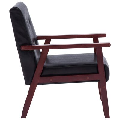 vidaXL Juego de sofás 2 piezas de cuero sintético negro