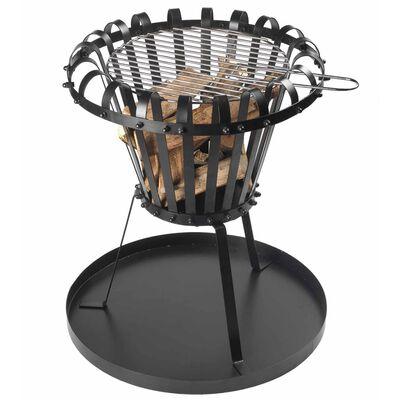 Perel Brasero cesta con bandeja de cenizas redondo negro BB650