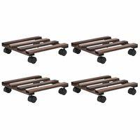 vidaXL Soporte con ruedas para macetas madera 4 uds cedro 25x25 cm