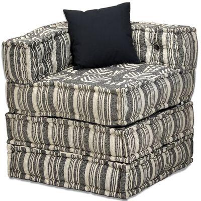 vidaXL Puf modular de 4 plazas de tela de rayas grises