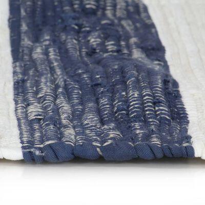 vidaXL Alfombra tejida a mano Chindi algodón 160x230 cm azul y blanco
