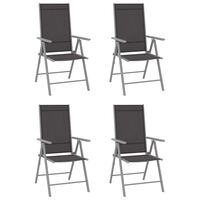 vidaXL Sillas de jardín plegables 4 unidades textilene negro