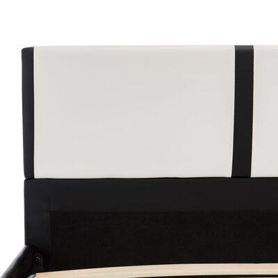 vidaXL Estructura de cama cuero sintético blanco y negro 120x200 cm