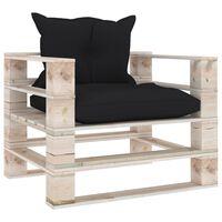 vidaXL Sofá de palets para jardín con cojines negros de madera de pino