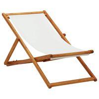 vidaXL Silla de playa plegable madera de eucalipto y tela blanco crema