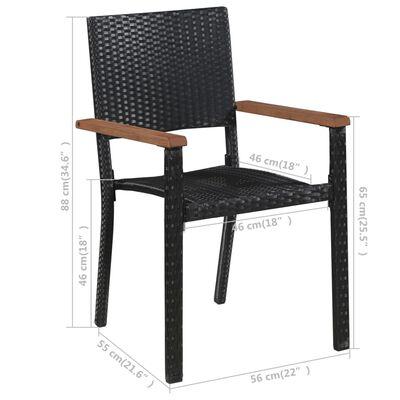 vidaXL Juego de comedor para jardín de 7 piezas negro