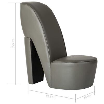 vidaXL Butaca con forma de zapato de tacón cuero sintético gris