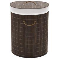 vidaXL Cesto de la ropa de bambú ovalado marrón oscuro