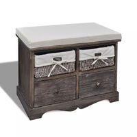 vidaXL Banco de almacenaje de madera de Paulownia marrón 62x33x42 cm