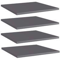 vidaXL Estantes estantería 4 uds aglomerado gris brillo 40x40x1,5 cm