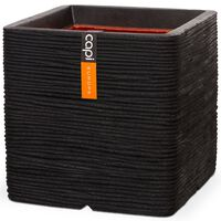 Capi Maceta Nature Rib cuadrada 40x40 cm negra KBLR903