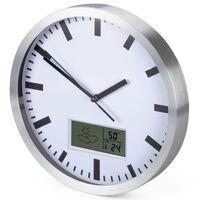 Perel Reloj de pared blanco y plateado 25 cm