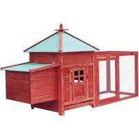 vidaXL Gallinero con ponedero madera maciza de abeto rojo 193x68x104cm