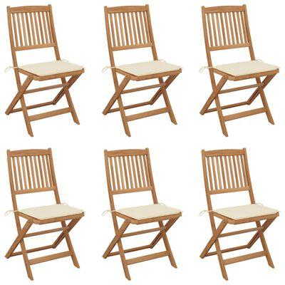 vidaXL Sillas de jardín plegables 6 uds y cojines madera maciza acacia