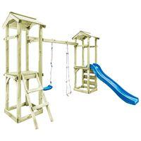 vidaXL Parque infantil con escalera, tobogán y columpio de madera