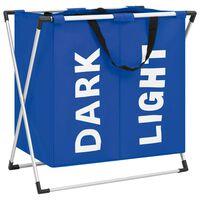 vidaXL Cesto separador de ropa sucia 2 secciones azul