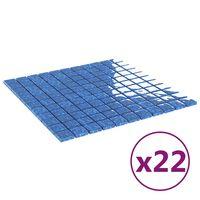 vidaXL Azulejos mosaico autoadhesivo 22 uds vidrio azul 30x30 cm