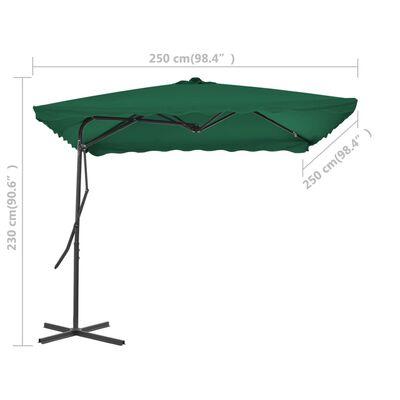 vidaXL Sombrilla de jardín con palo de acero 250x250 cm verde
