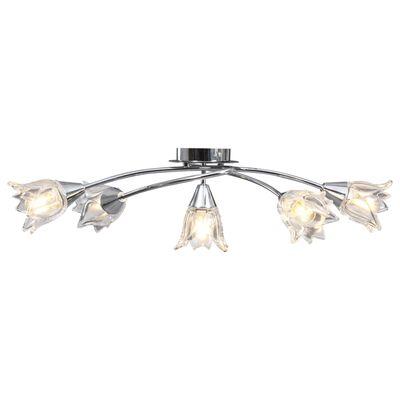 vidaXL Lámpara de techo con pantallas vidrio tulipán 5 bombillas E14