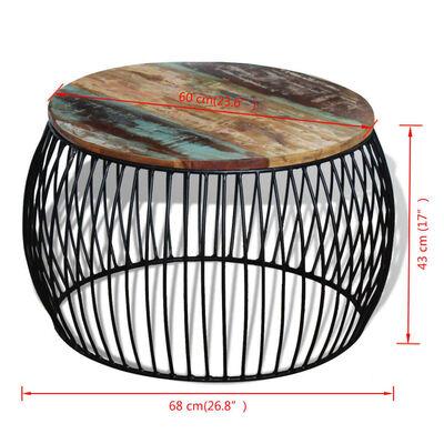vidaXL Mesa de centro redonda madera maciza reciclada 68x43 cm