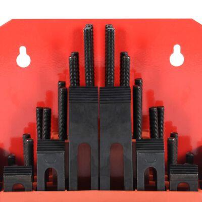 vidaXL Set de sujeción 58 piezas de acero T ranura M8
