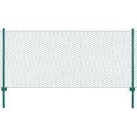 vidaXL Valla de malla alambre con postes acero 25x0,5 m verde