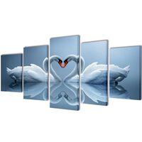 Set decorativo de lienzos para la pared modelo cisnes, 100 x 50 cm