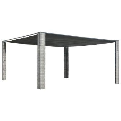 vidaXL Cenador techo ratán sintético gris y antracita 400x400x200 cm