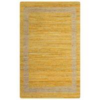 vidaXL Alfombra hecha a mano de yute amarilla 160x230 cm