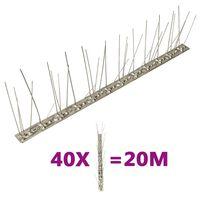 vidaXL Set de 5 hileras de pinchos contra pájaros y palomas 40 uds 20m