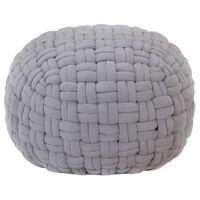 vidaXL Puf de diseño trenzado de algodón gris 50x35 cm
