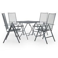 vidaXL Juego de muebles de comedor de jardín 5 piezas acero antracita
