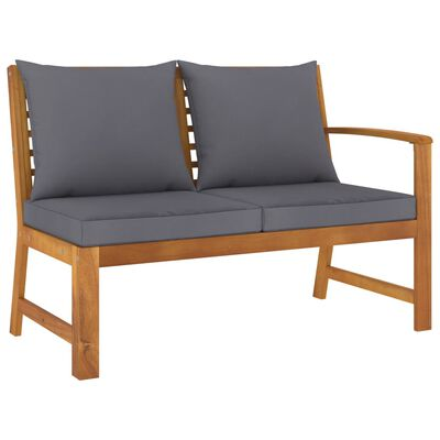 vidaXL Banco de jardín madera de acacia y cojines gris oscuro 114,5 cm