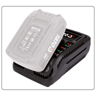 YATO Cargador de batería 18 V negro