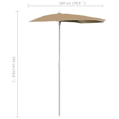 vidaXL Sombrilla de jardín semicircular con palo 300x150 cm gris taupe