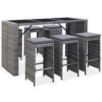 vidaXL Mesa y sillas de bar jardín 7 pzas cojines ratán sintético gris