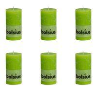 Bolsius Velas rústicas 6 unidades verde lima 130x68 mm