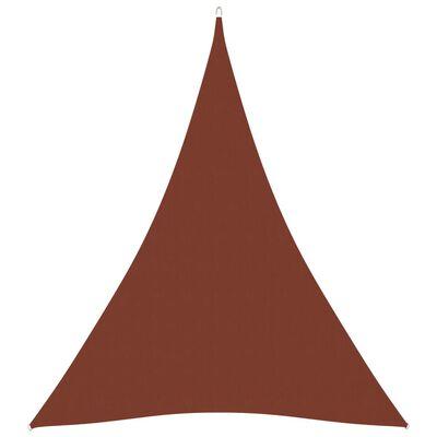vidaXL Toldo de vela triangular de tela oxford terracota 5x7x7 m