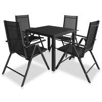 vidaXL Set de comedor de jardín 9 piezas aluminio y WPC negro