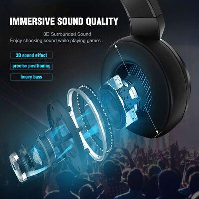 Auriculares para juegos V5000 con LED azul - USB + 3,5 mm