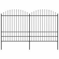 vidaXL Valla de jardín con puntas de lanza acero negro (1,75-2)x3,4 m