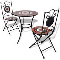 vidaXL Set mesa y sillas de jardín 3 pzas mosaico terracota y blanco