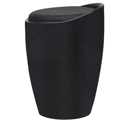 vidaXL Taburete de cuero sintético negro