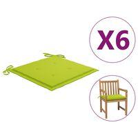 vidaXL Cojines de silla de jardín 6 uds tela verde brillante 50x50x4cm